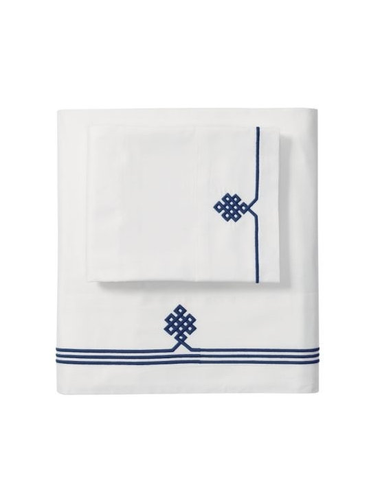 Serena & Lily - Navy Gobi Embroidered Pillowcases - Our not-so-basic white sheets make a great foundation for layering color and pattern throughout the room-think of them as classics with a twist. Thanks to 300-thread-count pure-cotton sateen, they're also wonderfully comfortable.  An ancient Buddhist motif, representing the endless knot of wisdom, is embroidered in Navy on the flat sheet and cases.