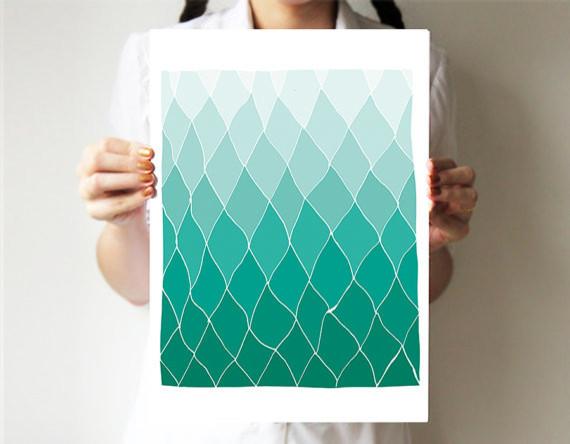 Geometric Print, Mint by Villavera contemporary-artwork
