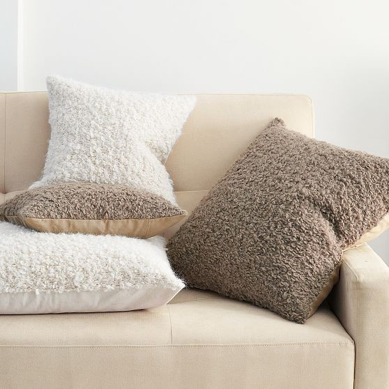 Throw Pillows Textured : Alpaca Textured Pillow Cover - Modern - Decorative Pillows - by West Elm