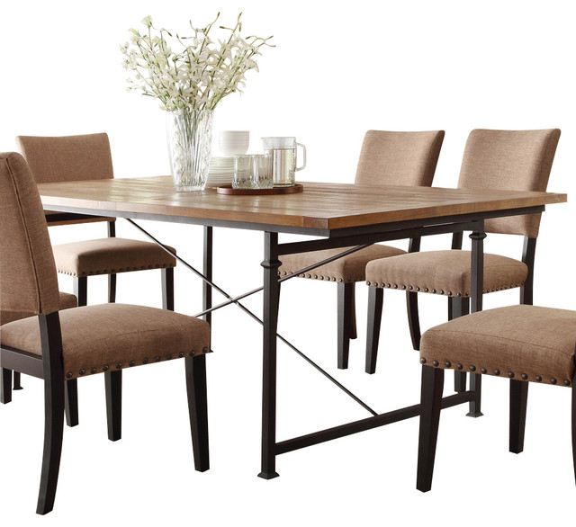 Homelegance Derry Dining Table With Wrought Iron Base
