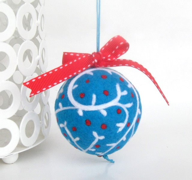Wool Felted Ball Ornament In Blue Red And White By