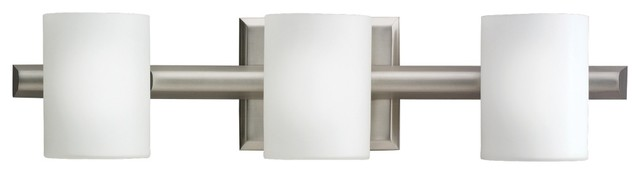 "Contemporary Kichler Cylinder Brushed Nickel 21"" Wide Bathroom Light contemporary-bathroom-lighting-and-vanity-lighting"