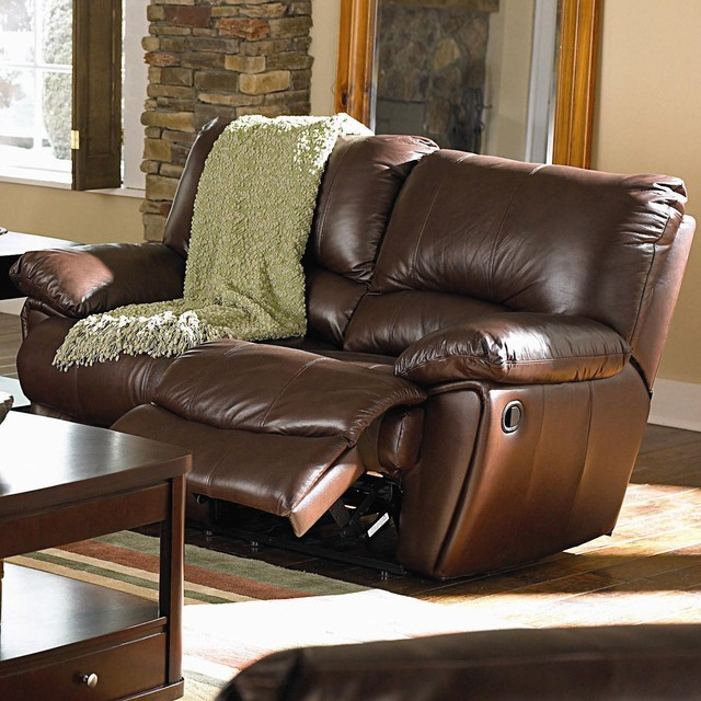 Clifford Brown Leather Double Reclining Love Seat traditional-love