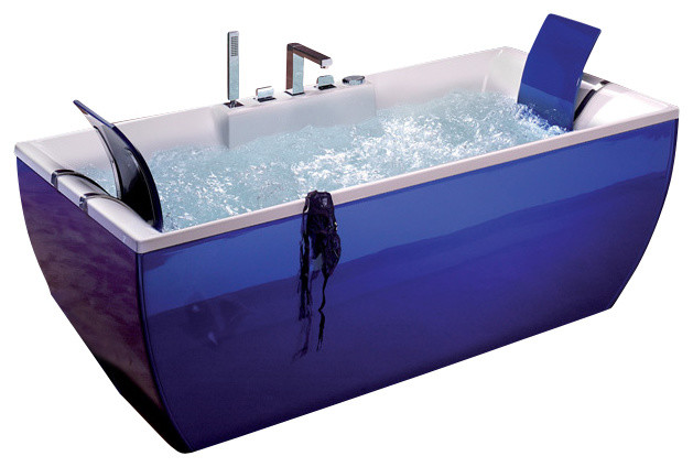 Kali color free standing bathtub in blue contemporary for Coloured free standing bath