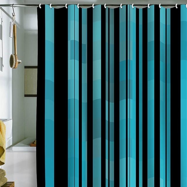 DENY Designs Madart Inc Black Stripes Modern Design 2 Shower Curtain contemporary-showers