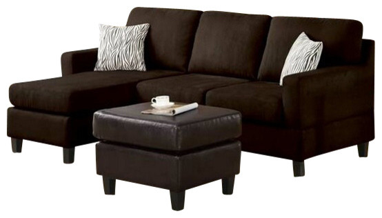 2 piece chocolate microfiber reversible chaise sectional for Brown microfiber chaise lounge