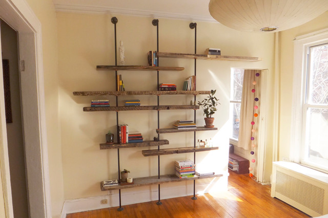 Adjustable Rustic Modern Shelving Unit Of Reclaimed Wood