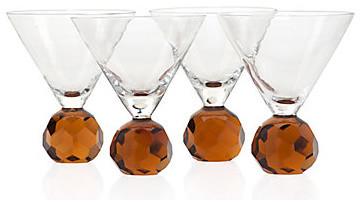 Sphere Martini Glassware - Amber Set of 4 modern-wine-and-bar-tools