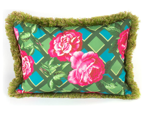 Greenhouse Outdoor Lumbar Pillow | MacKenzie-Childs - A bright outdoor accent to complement our Greenhouse Outdoor Furniture Collection, or to toss anywhere you need a dose of vibrant summer color. Rose-on-lattice background reverses to a vibrant graphic plaid. Green fringed trim.