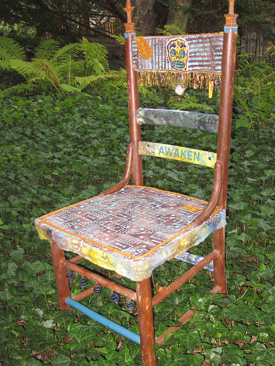 AWAKEN crocheted chair - This chair reminds us to Be Here Now.