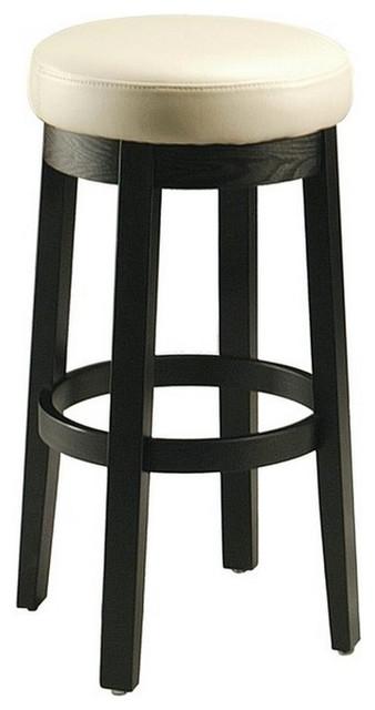 Pastel Ekatarina Backless Barstool - Ballarat Black Wood - Bonded White Leather, traditional-bar-stools-and-counter-stools