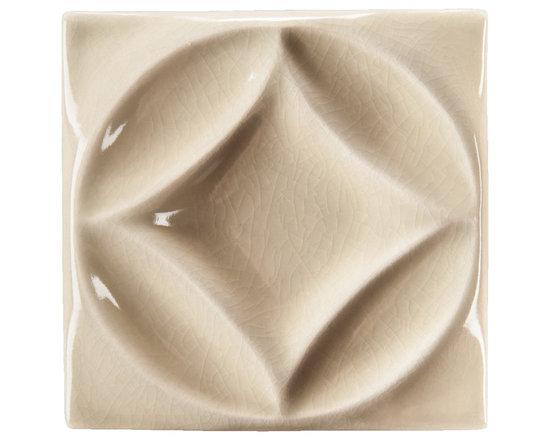 "Ceramic - ANN SACKS Circa 4"" x 4"" harlequin circle ceramic decorative tile in celery crackle"