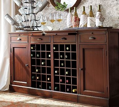 Wine Bar Buffet With 2 Wine Bases 2 Cabinets Mahogany Stain Traditional Wine And Bar