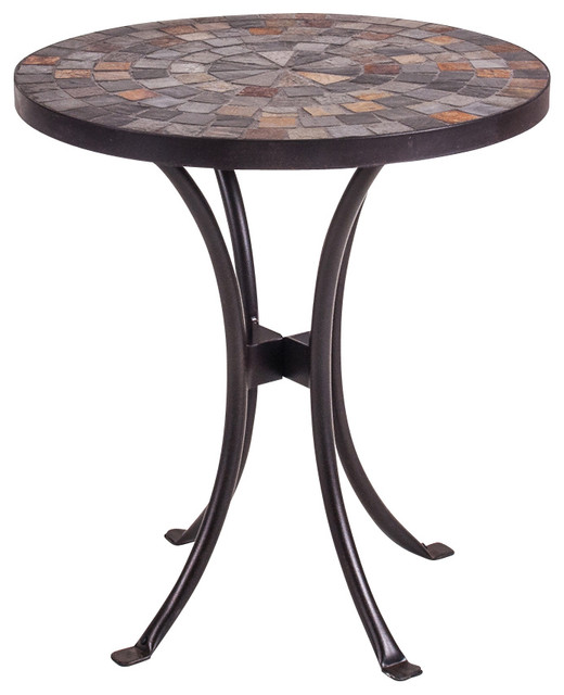 New Rustics Mosaic Slate end Table in Wrought Iron traditional-side ...