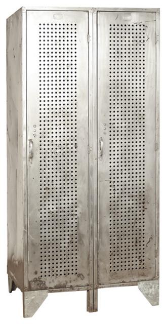 Tall Deep Vintage Industrial Perforated Steel Lockers eclectic-dressers
