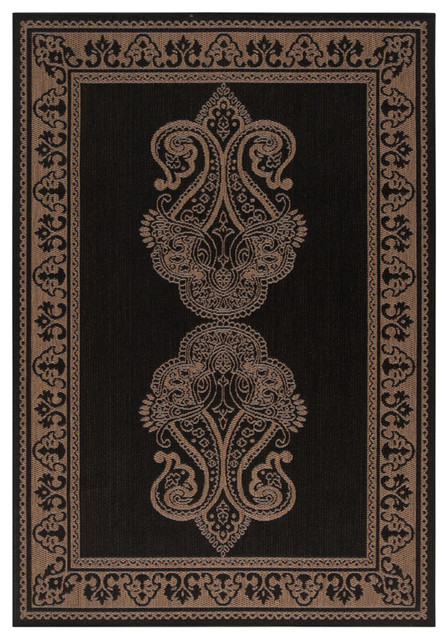 Surya Alfresco Black Rectangle Area Rug contemporary-doormats