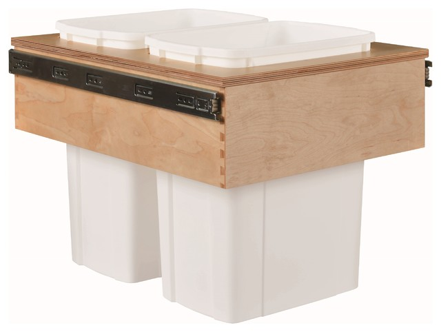 """Century Components 35 Qt White Double Top Mount Pull Out Waste Bin - Birch, 15"""" traditional-kitchen-trash-cans"""