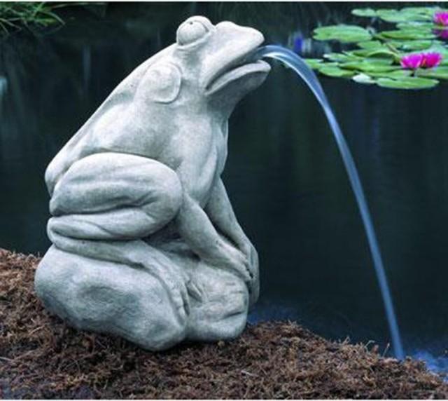 Campania International Longwood Italian Water Garden Frog Cast Stone Garden Stat modern-garden-statues-and-yard-art
