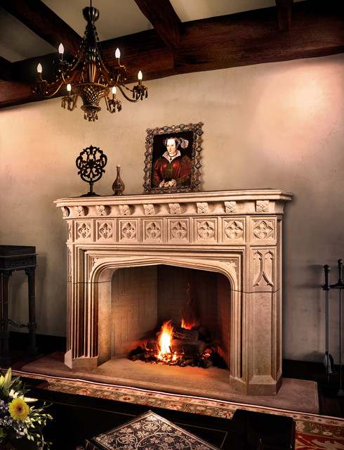 Trowbridge mantel mediterranean living room toronto for Mediterranean fireplace designs