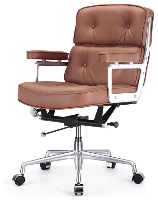 M340 lobby office chair in brown leather contemporary for Modern leather office chairs