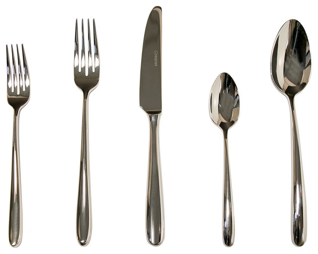 Fusain Place Setting Set Of 5 Modern Flatware And Silverware Sets By Silver Superstore