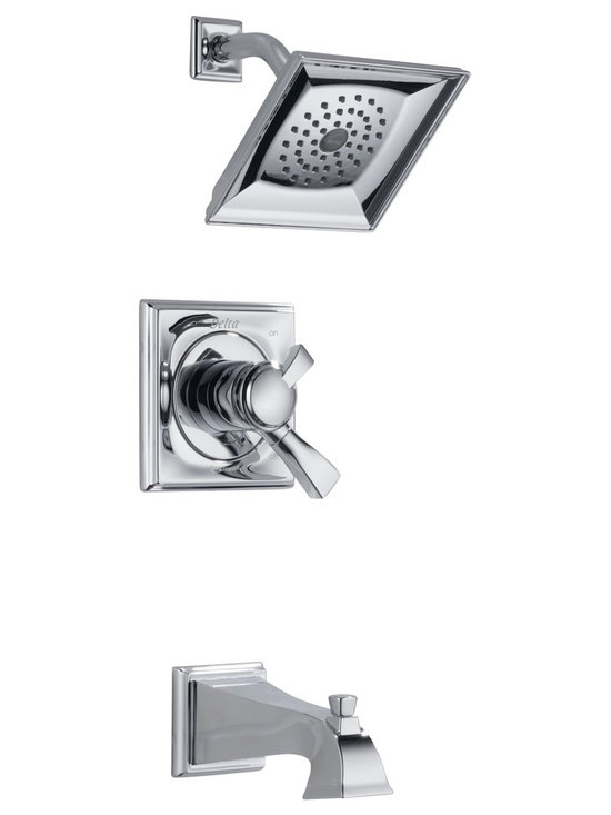 Delta - Dryden Monitor 17 Series Tub and Shower Trim with Showerhead and Tub - Delta 174930 Dryden Monitor 17 Series Tub and Shower Trim with Showerhead and Tub Spout in Chrome.