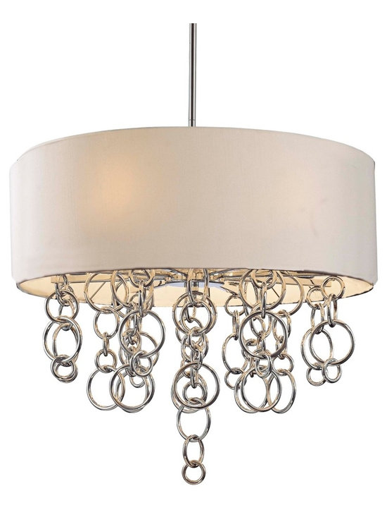"George Kovacs - George Kovacs Ringlets Tan 27 1/2"" Wide Chandelier - Add a dramatic contemporary accent to your home decor with this Ringlet pendant light. Strings of interlocked ringlets in a beautiful chrome finish hang down from within the tan linen drum shade. A lovely and unique pendant design from the George Kovacs chandelier collection by Minka. 27 1/2"" wide. 27"" high. Takes eight 60 watt bulbs (not included).  Chrome finish.  Tan linen shade.  A George Kovacs lighting design.  Takes eight 60 watt bulbs (not included).  27 1/2"" wide.   27"" high."