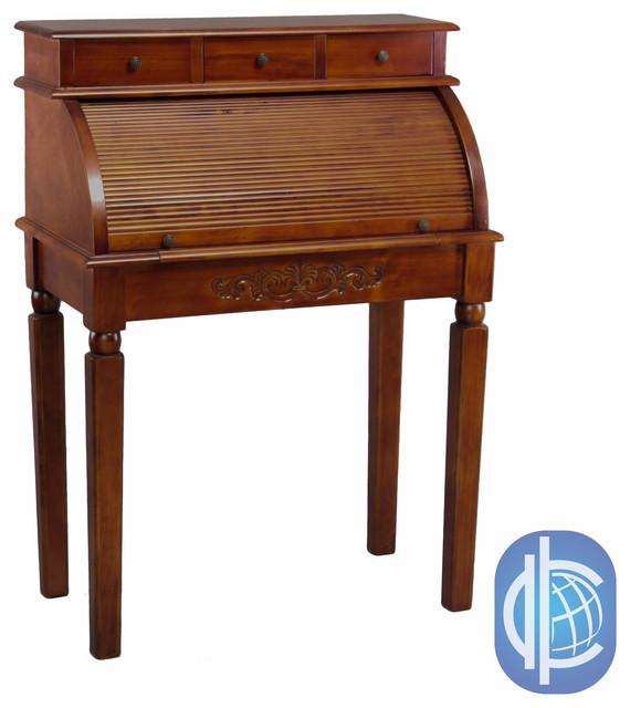International Caravan Hardwood Roll Top Style Desk Vanity