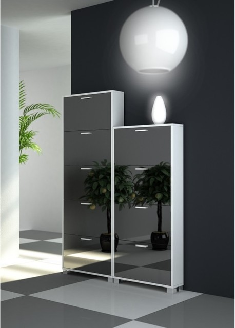 Double Modern Shoe Rack with Folding Mirrored Doors - Modern - Shoe Storage - other metro - by ...