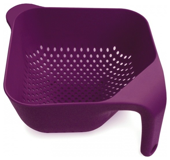 Square Colander, Eggplant, Large modern-colanders-and-strainers