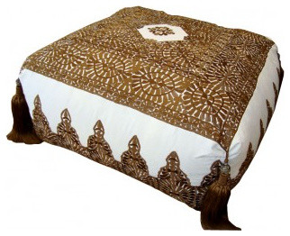 Brown Moroccan Pouf - Mediterranean - Floor Pillows And Poufs - miami - by Jalan Jalan Collection
