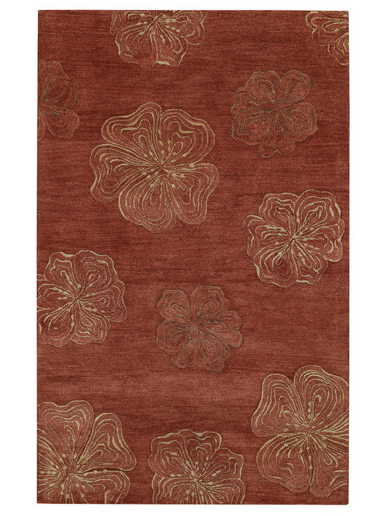 Graphique Hibiscus rug in Henna -
