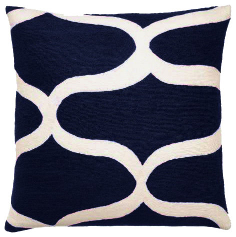 Wave Navy Cream Pillow - Pillows - los angeles - by Weego Home