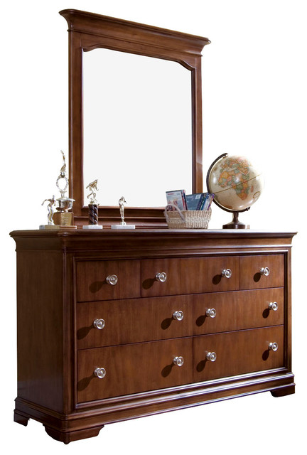 Lea Elite Classics Dresser with Mirror in Brown Cherry traditional-kids-dressers-and-armoires