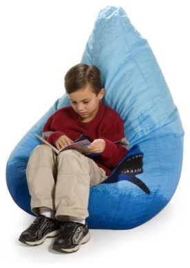 Large Twill Shark Teardrop Bean Bag Chair modern-kids-chairs