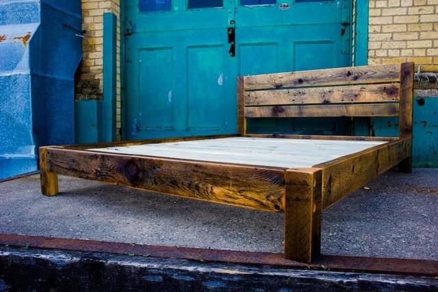 Reclaimed Wood Platform Bed: Platform Beds by Ingvald - Rustic - other ...