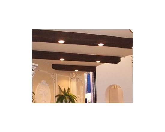 Sandblasted Faux Beams - Due to their hollow construction, faux beams are a great way to hide wiring and installing recessed lights directly into the beams are a snap.