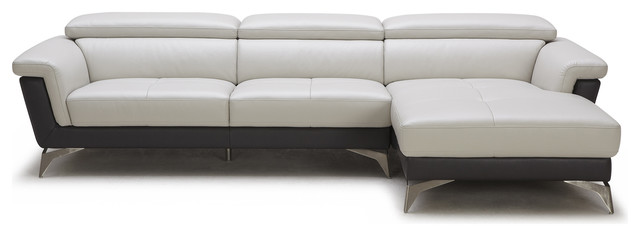Gray/Black Savoy 3-Seater Sectional Sofa, Right Chaise + 3 Seater contemporary-sectional-sofas