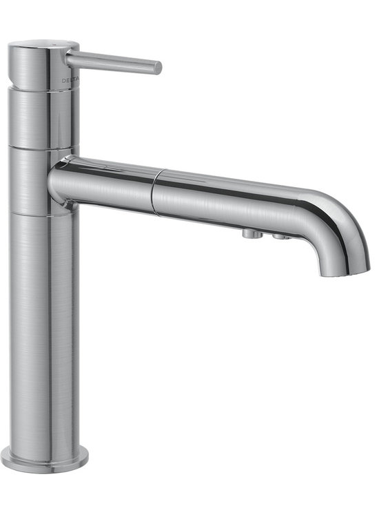 "Delta - Delta 4159-AR-DST Trinsic Series Single Handle Kitchen Faucet with Spray - The Delta 4159-AR-DST Chrome Trinsic Series Single Handle Kitchen Faucet is designed to emphasize the sleek elegance and sophistication of a modern European style faucet while maintaining superior functionality and durability. This Single Handle Kitchen Faucet features a 2-Function Pull-Out Sprayer as well as Delta's matchless Diamond Seal technology and a 54"" Nylon Braided Hose."