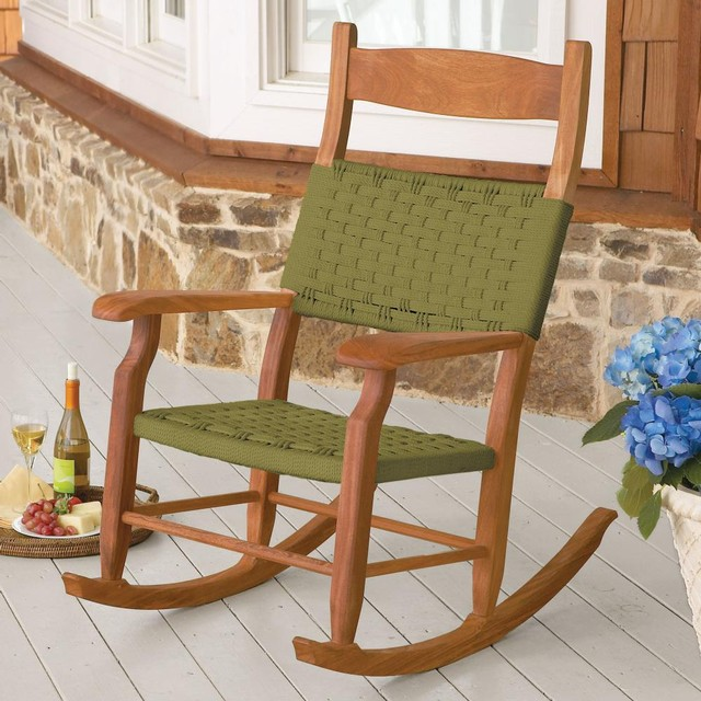 Woven Rope Outdoor Rocking Chair Traditional Outdoor
