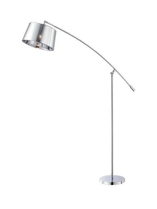 Joshua Marshal - Single Light 9 Down Lighting Adjustable Arm Floor Lamp With Pvc Drum - Finish: Chrome