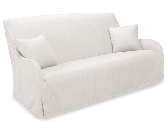 Morgan Slipcovered Outdoor Sofa in Spinnaker Salt - The designs that are transitionally versatile indoors have the same harmonizing effect and eye-pleasing shape when placed outdoors. This slipcovered sofa is designed to withstand the elements. Exquisite as an accommodating outdoor dining bench and perfect for comfortable poolside napping, the sofa features a padded, curved back as well as sweeping sloped arms with a narrow and elegant profile. Bring the comfort of the indoors outside in sophisticated style.