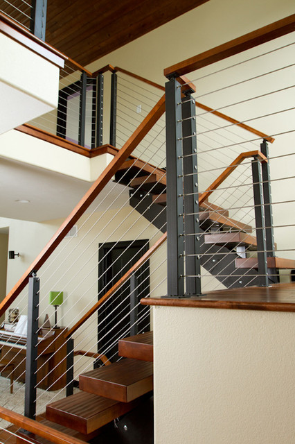 Cable Rail Contemporary Staircase Other Metro By