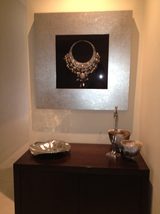 Operation 'Blank Canvas' - Client's own artwork and decorative pieces, custom made cabinet.