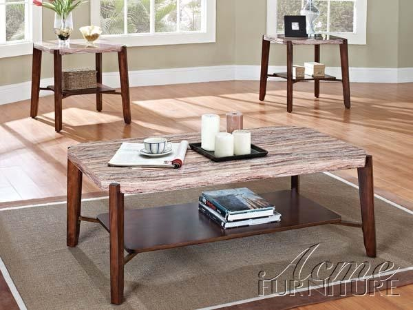ACME Furniture - Dark Cherry Faux Marble Top 3 Piece Table Set - 80085 contemporary-coffee-tables