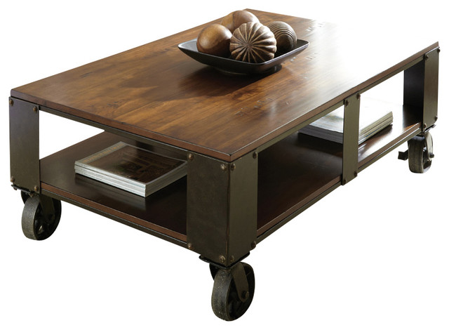 Steve Silver Barrett 2 Piece Coffee Table Set With Casters In Distressed Tobacco Traditional