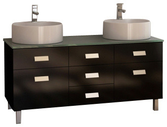 Double Sink Vanity Set In Espresso Modern Bathroom Vanities And Sink