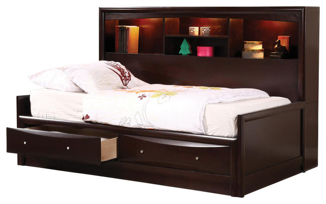 Cappuccino maple veneers phoenix full daybed w bookcase for Youth bedroom furniture sets