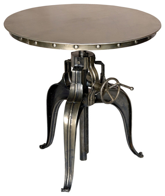 Round Crank Top Metal Bistro Table Industrial Indoor