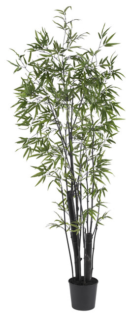 Nearly Natural 6' Black Bamboo Silk Tree (2 Thick Trunks) traditional-artificial-flowers